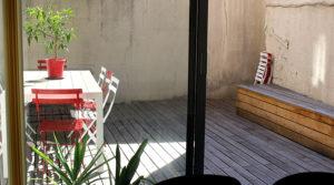 Terrasse des bureaux dans Bordeaux, prise de vue depuis la salle de réunion à louer