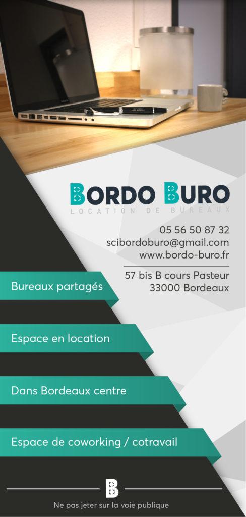 Plaquette des tarifs des bureaux de Bordo Buro, recto